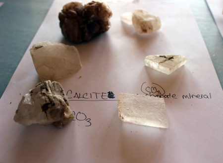 Samples of locally sourced calcite.
