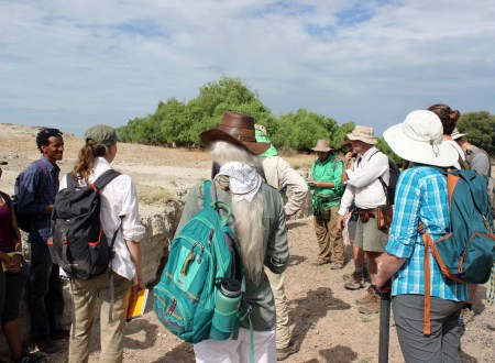 We looked at a section of Tulu Bor tuff deposits along the laga where water has cut through the ground, exposing the layers.