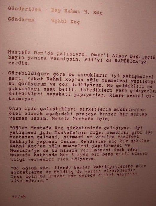 Vehbi Koçun Mustafa Koç Için Yazdığı Mektup Turkish Forum