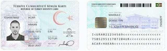 aksaray resimli ve turkuaz renkli Türkiye Cumhuriyeti nüfus kimlikler