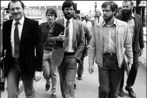 Jeremy Corbyn and Ken Livingstone with Gerry Adams in London.