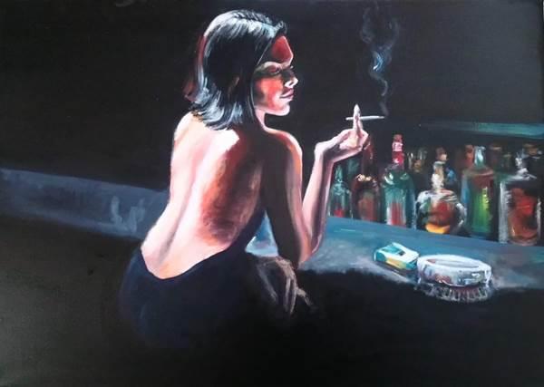 Sırt dekolteli kadın tablosu