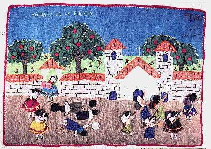 """""""Matanza en el Pueblo (Murder in the Village)."""" By Angelina T., Peruvian Arpillera, 1990."""