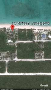 GoogleEarth position of Whitby Beach Cottage, North Caicos