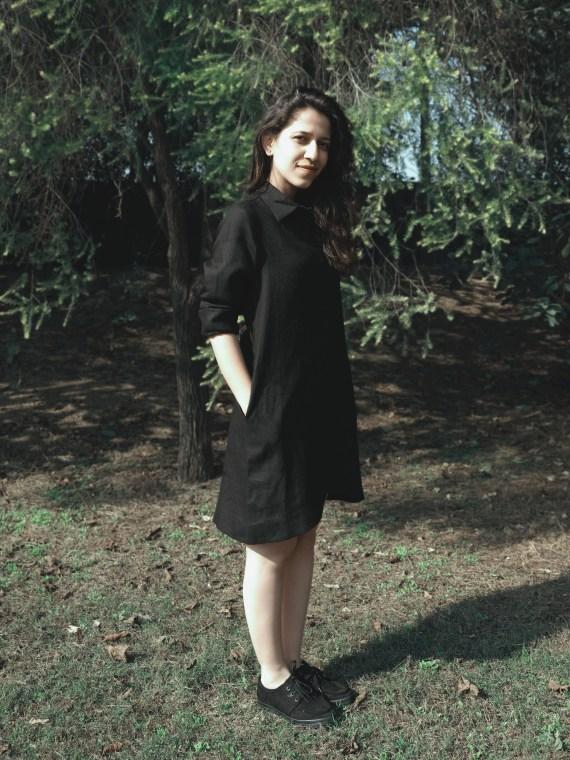 Black Linen Shirt Dress