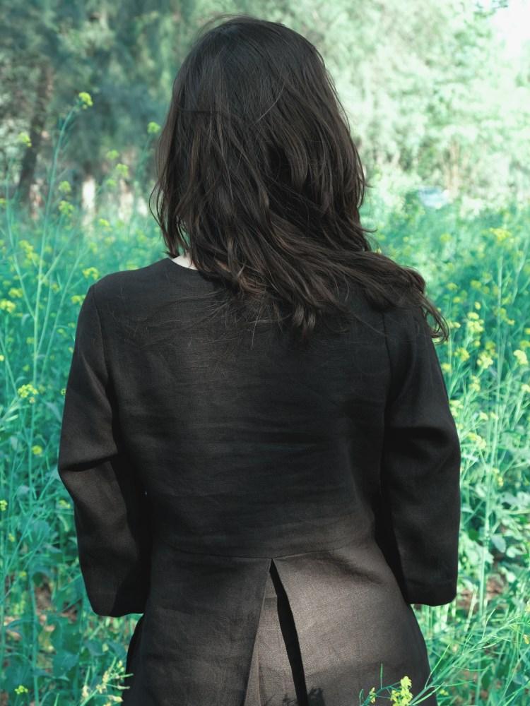 Black V-Neck High Waisted Linen Dress