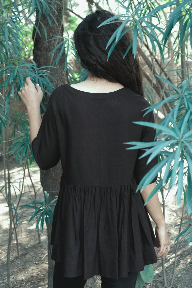 Black Buttoned Top With Open Front