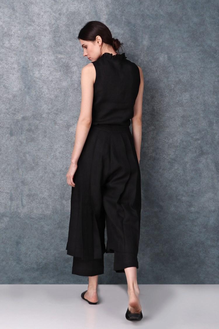 Black High Waist Pleated Pants