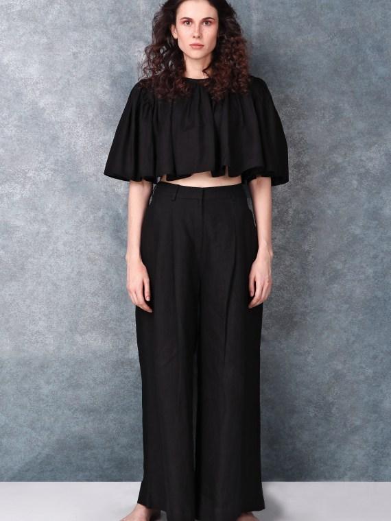 Black High Waisted Pleated Full Length Pants