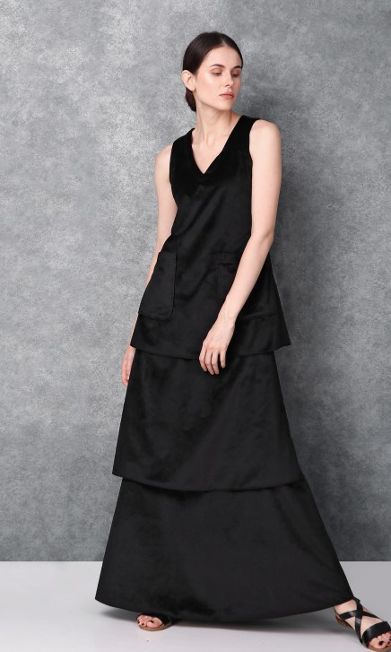 Black Full Length Sleeveless Dress