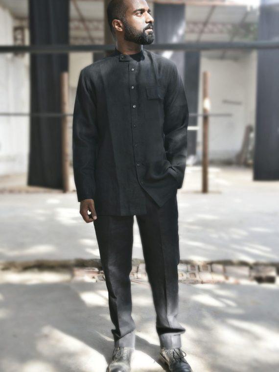collared black linen shirt
