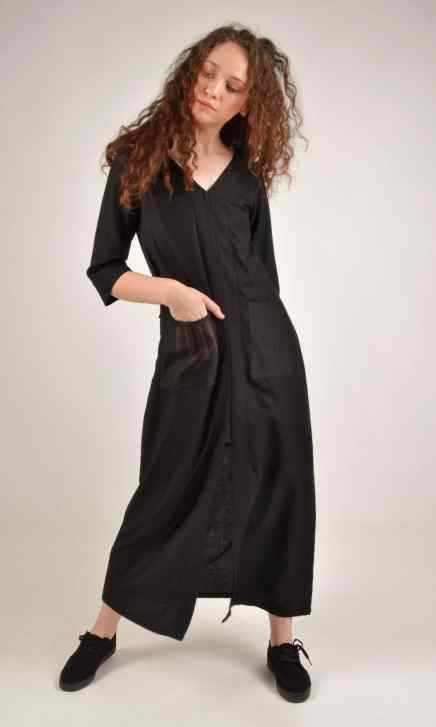 Long Double Slit Black Cotton Linen Tunic