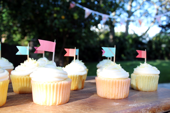 washi tape flag on cupcakes
