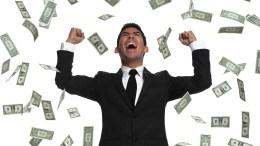 raining money on a man cashback black friday