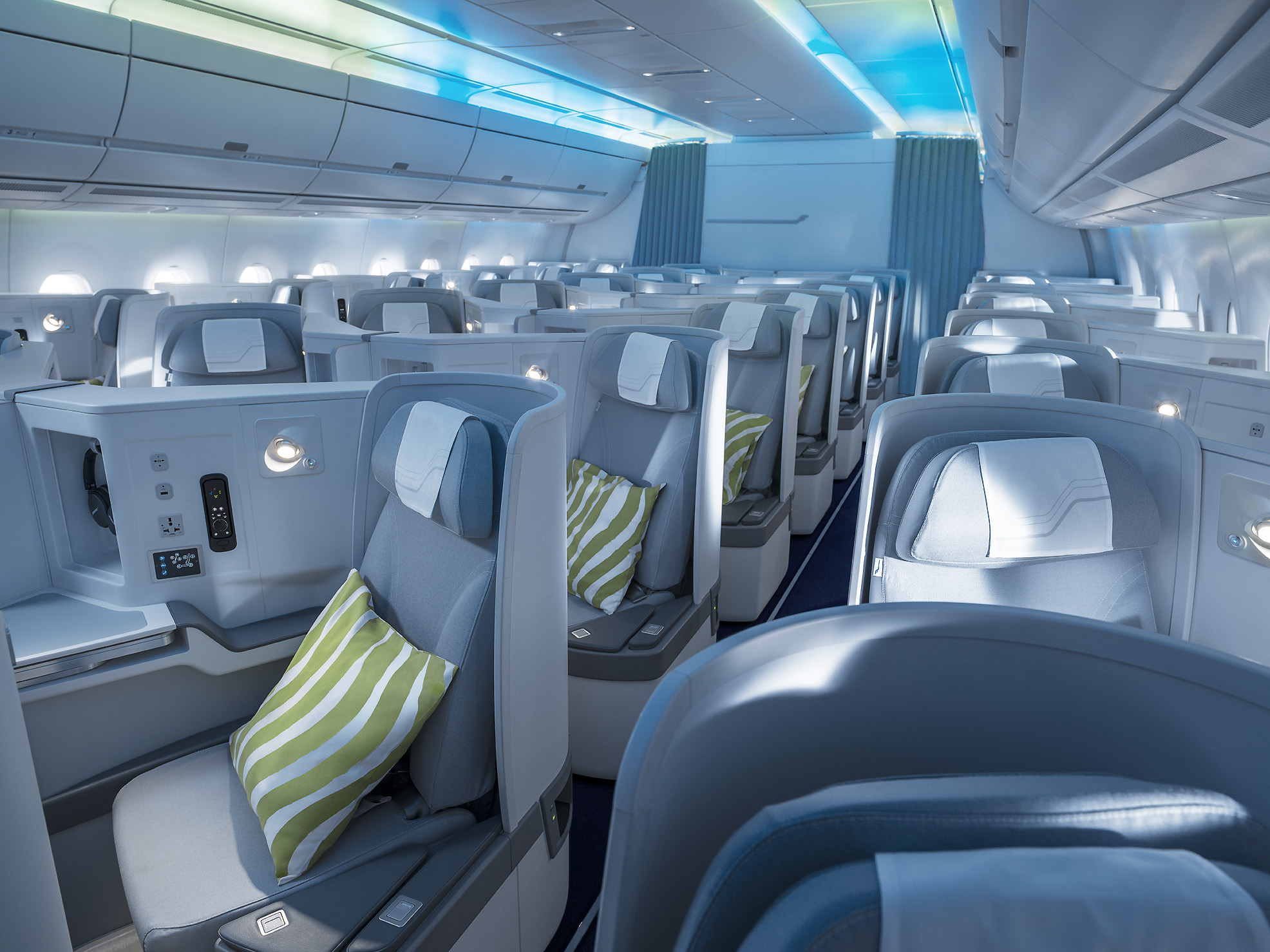 finnair northern lights theme business class cabin