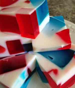 Red, White and Blue Broken Glass Jello