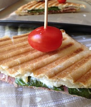 Goat Cheese, Spinach and Black Forest Ham Panini