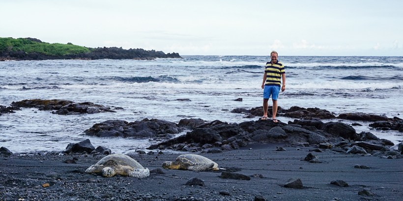 Bjorn with sea turtles