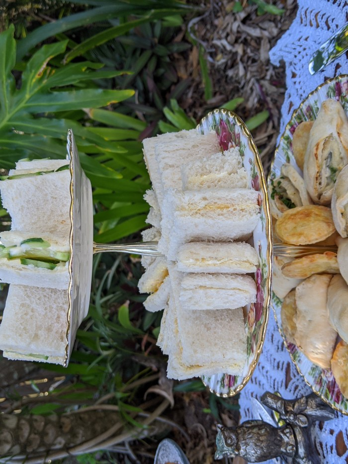 sandwiches, cheese biscuits and chicken turnovers made from 1930s recipes