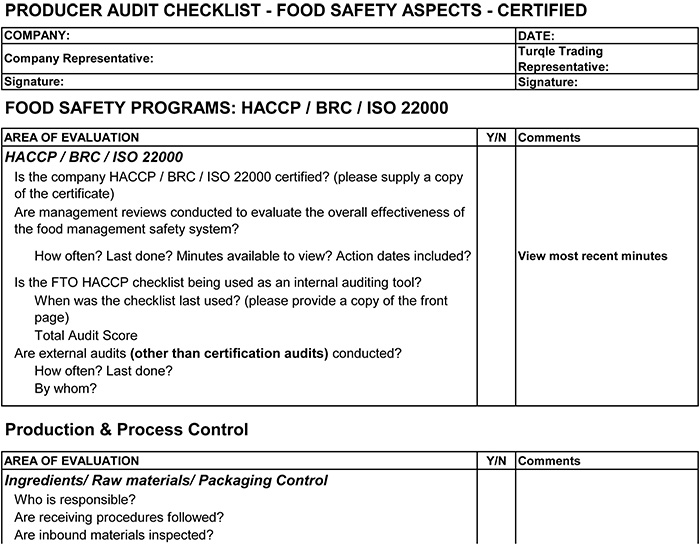 Haccp food safety audit checklist for Supplier audit plan template