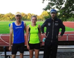 Das Team der LG Celle-Land: vlnr: Hans Röper, Carolin Liedke (TuS Bergen), Matthias Lang (TuS Hermannsburg)