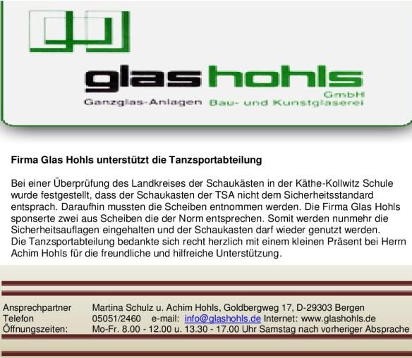 Fa. Glas Hohls - DANKE -