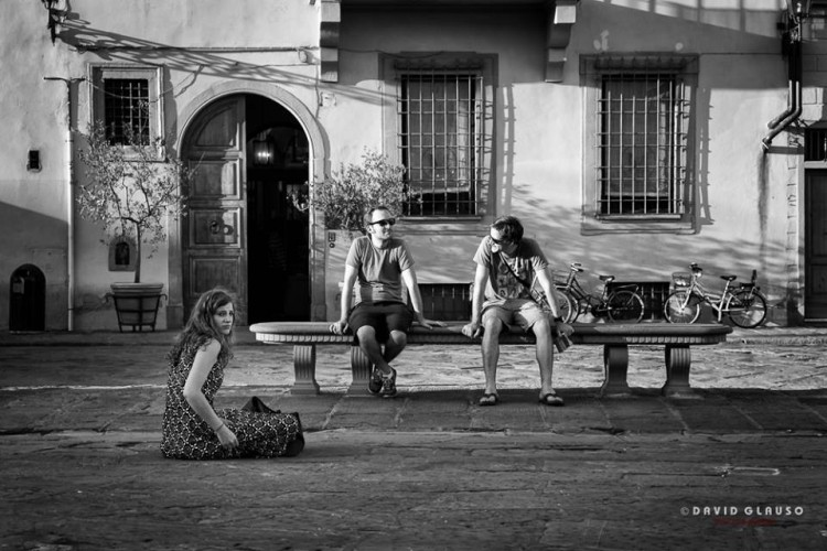 tree people in Piazza Santa Croce in Florence