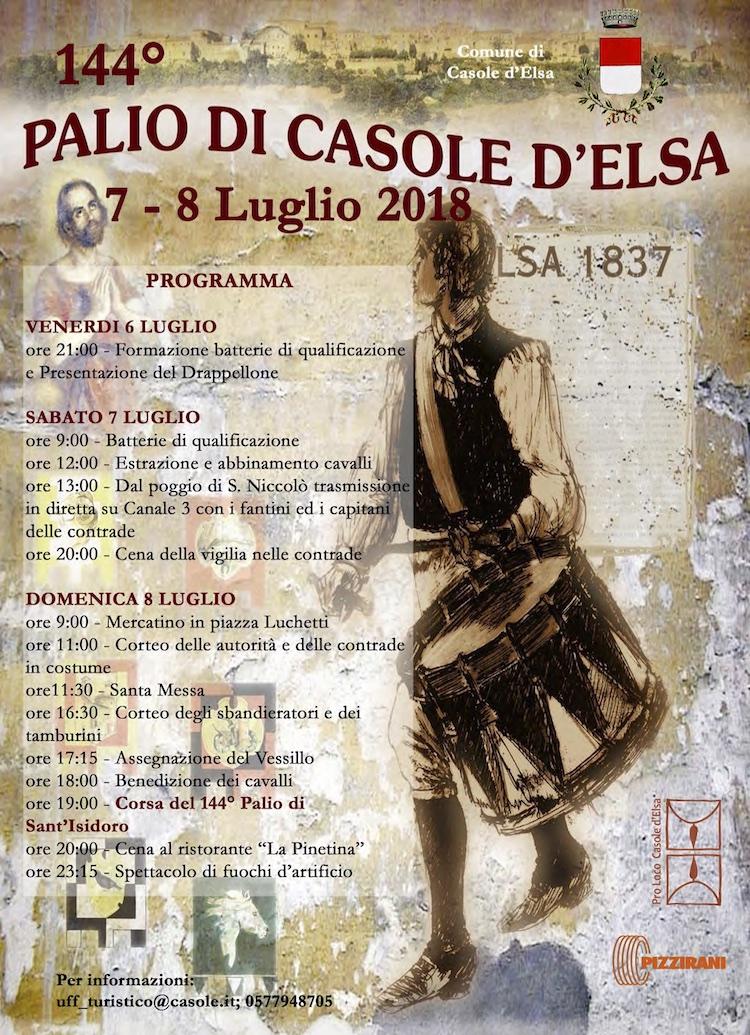 Il Palio di Casole d'Elsa 2018 si terrà nel borgo toscano della Val d'Elsa dal 6 all'8 luglio; partecipano anche i fantini del Palio di Siena