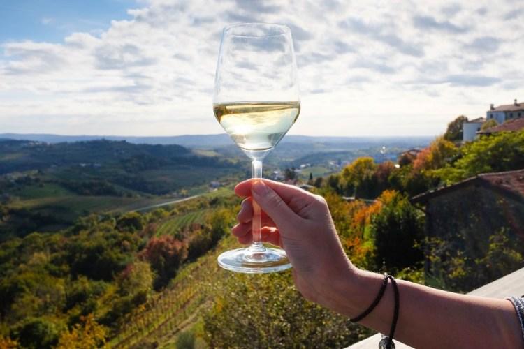 Calice di vino bianco davanti alla campagna toscana