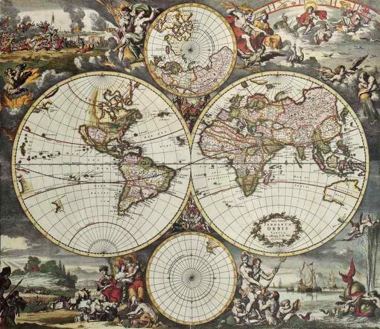 Un antico mappamondo con l'America del Nord non ancora scoperta