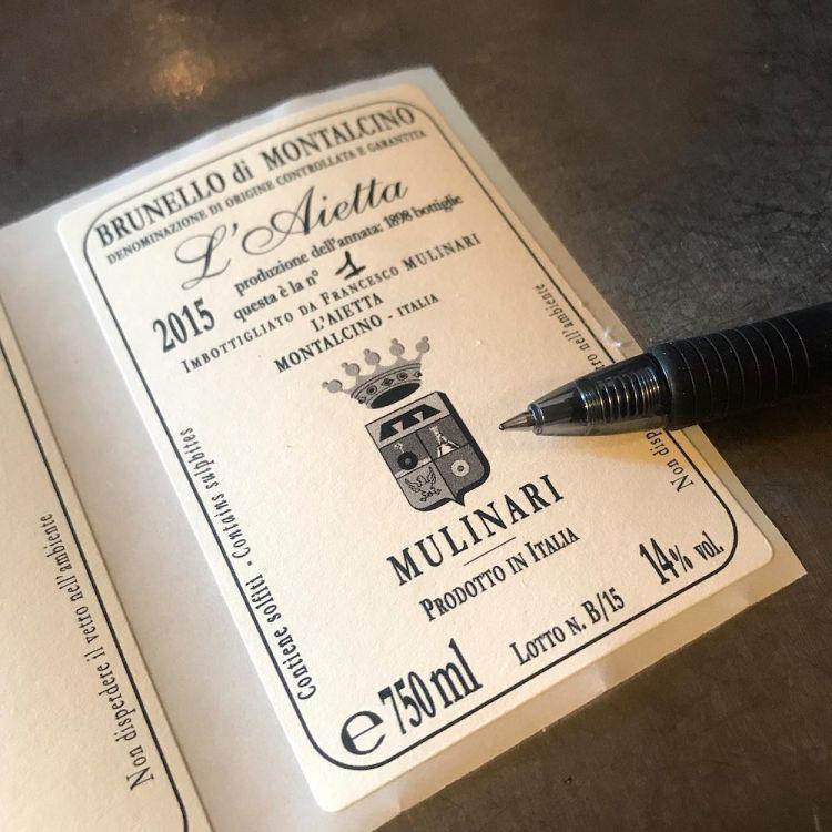 Etichette del Brunello de L'Aietta di Montalcino