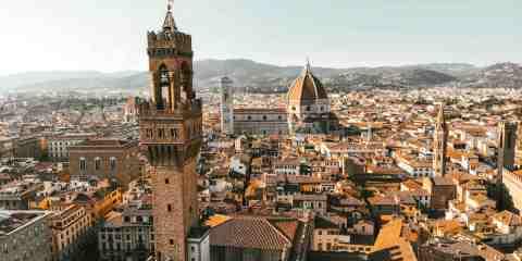 Palazzo della Signoria, il Duomo e la città di Firenze riprese dall'alto