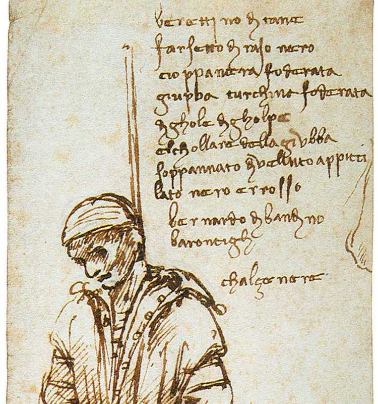 Disegno dell'impiccagione di Bernardo di Bandino Baroncelli di Leonardo da Vinci