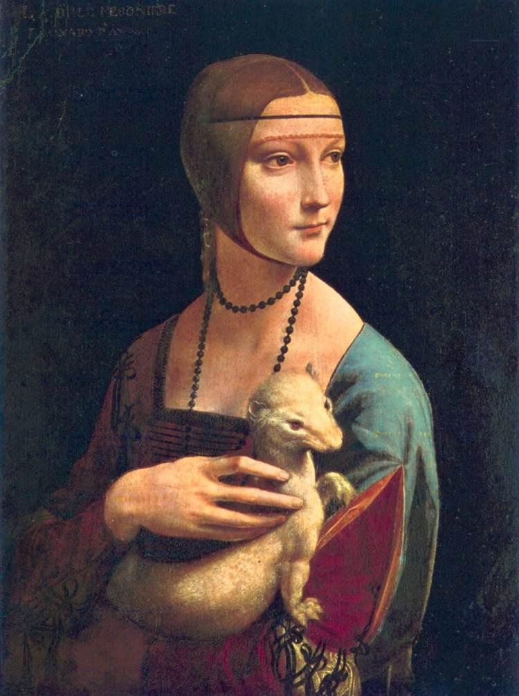 La Dama con l'ermellino, una delle più famose opere di Leonardo da Vinci