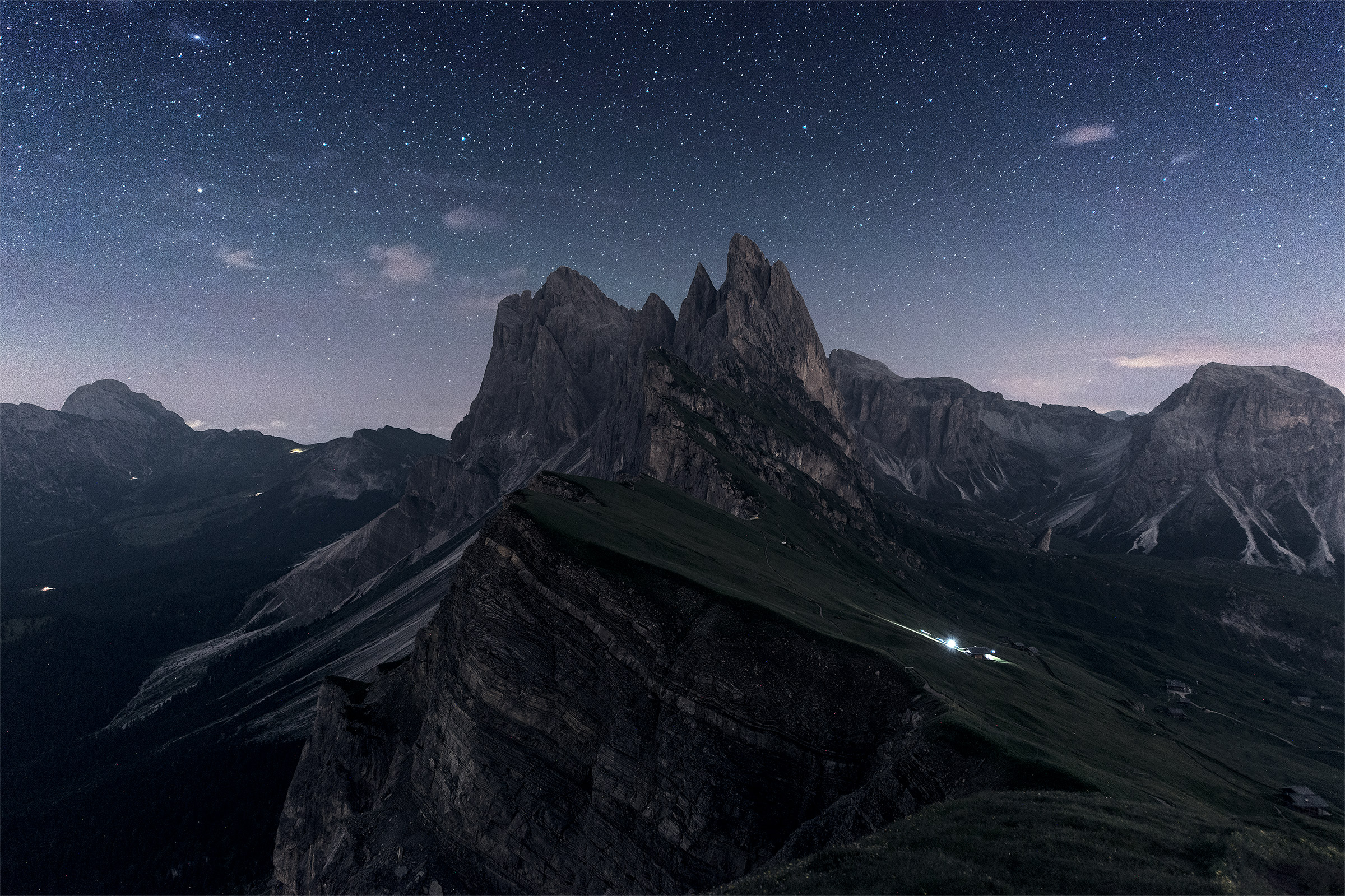 Seceda at night in our summer adventure photo workshop in the Dolomites