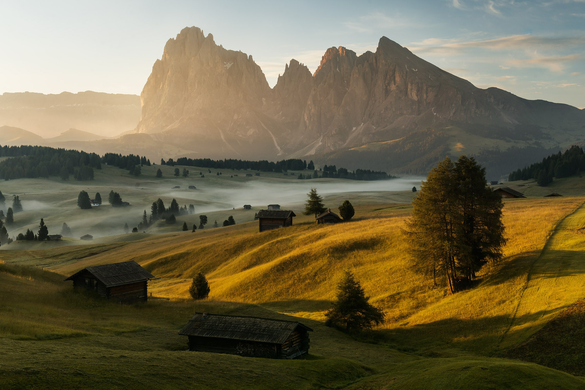 Seiser Alm (Alpe di Siusi) during a summer sunrise in our Dolomites photography tour