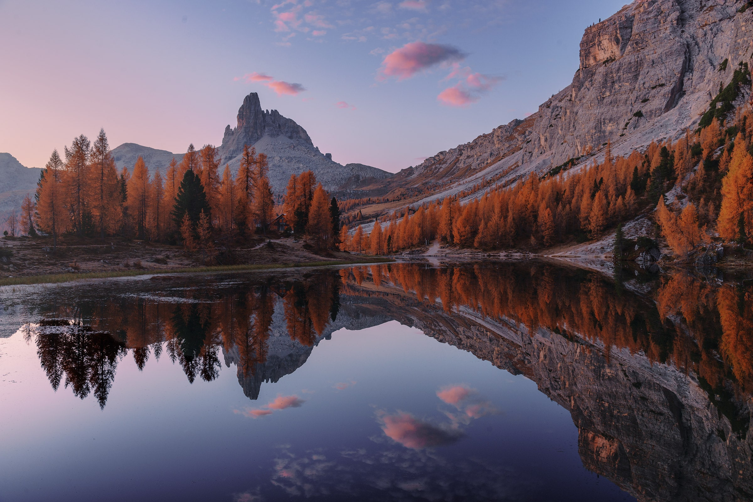 Twilight reflection in the Dolomites in autumn
