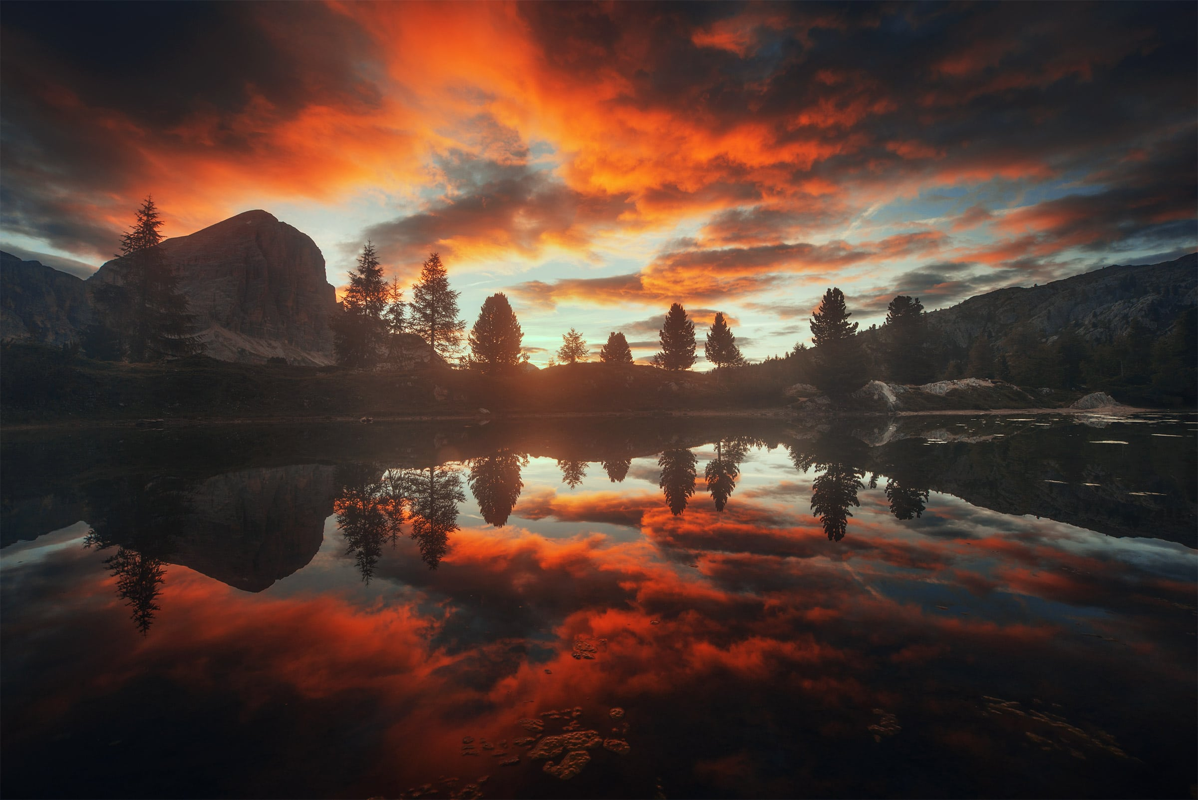 limides lake dolomites summer sunrise