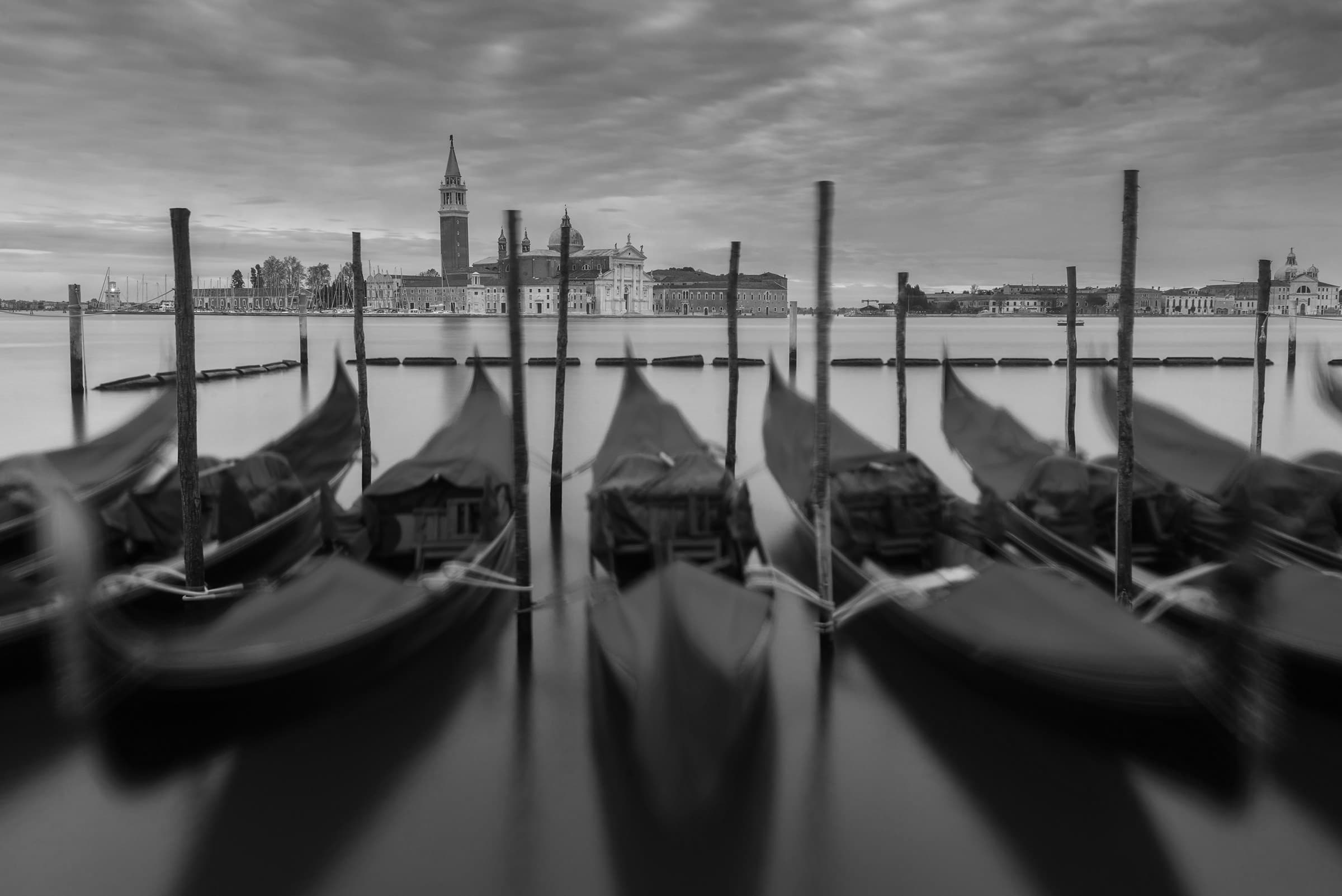 Venice in black and white during spring