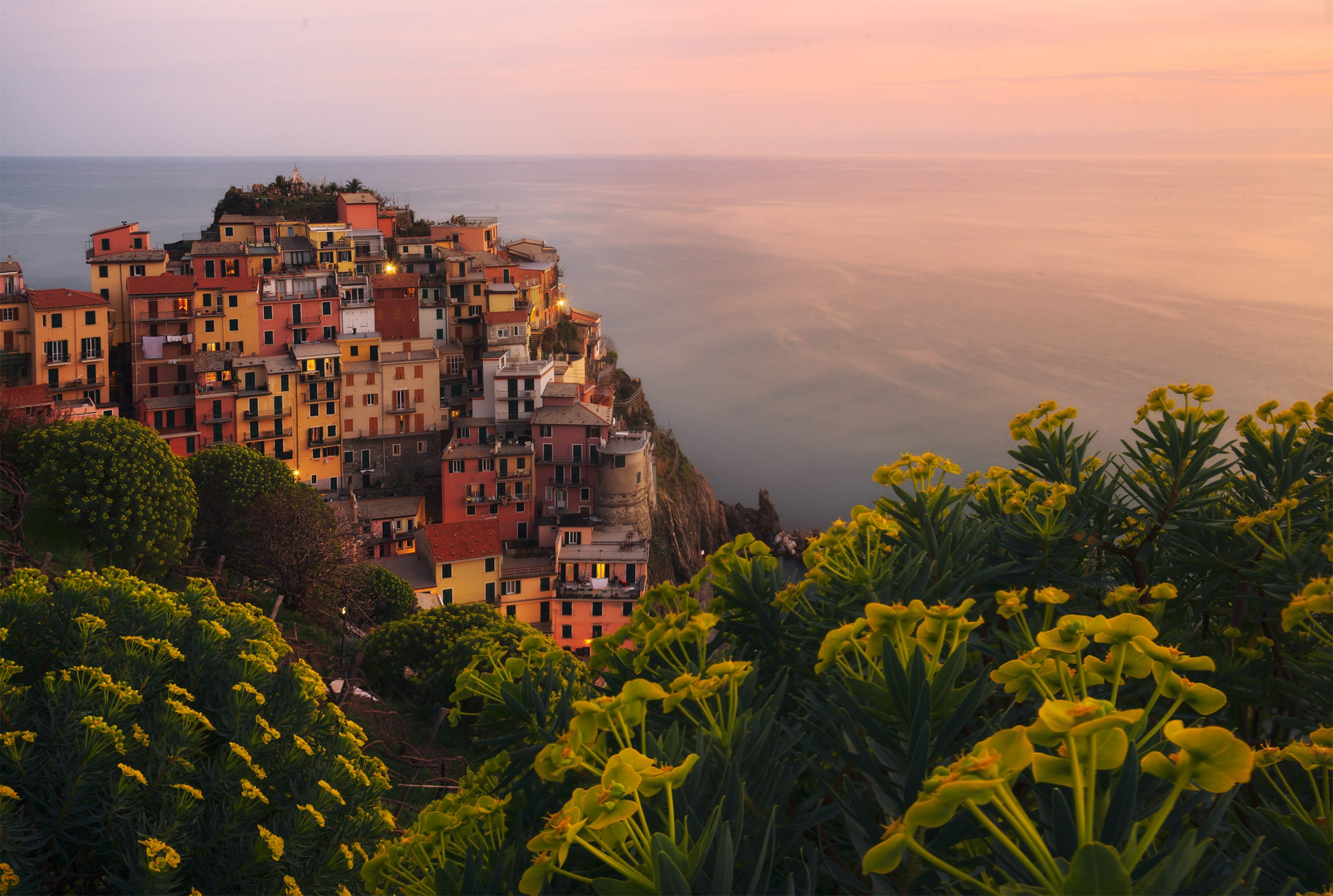 Cinque Terre in spring at sunset