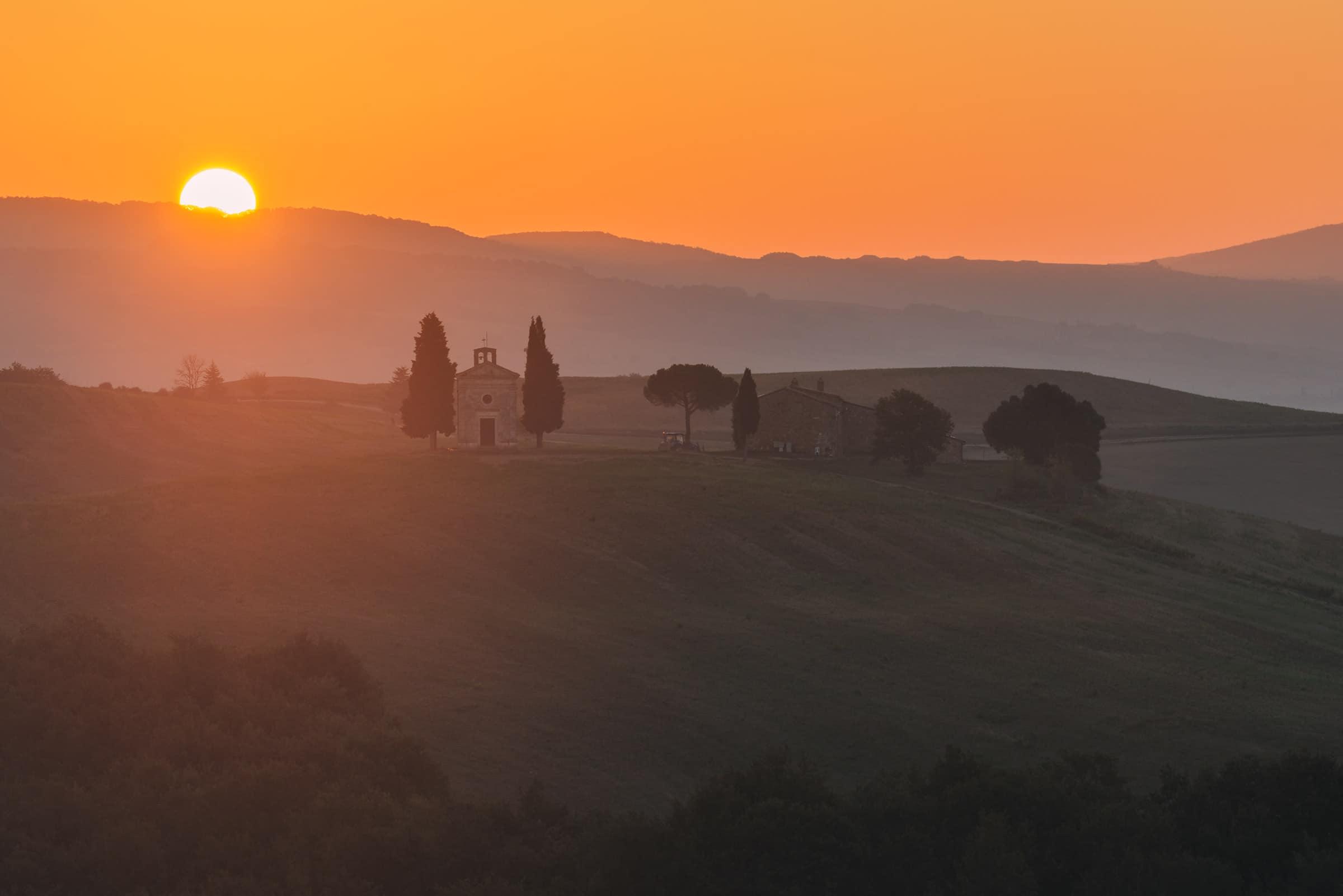 vitaleta chapel at sunrise