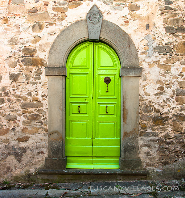 Lime green door Tuscany
