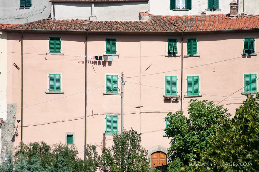 Laundry and houses in Vellano, Pescia,Tuscany, Italy