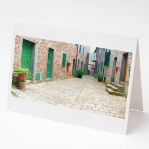 Tuscan village Street, Stiappa Greeting Card
