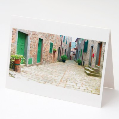 Tuscan village Street, Stiappa Greeting Card