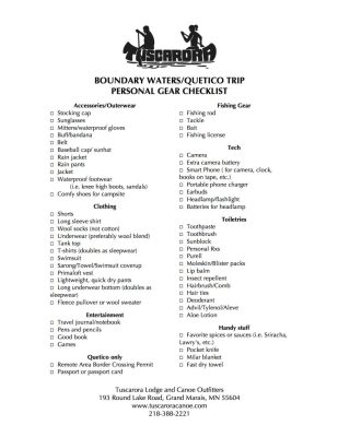 Printable Boundary Waters Packing List Personal Gear Checklist jpg