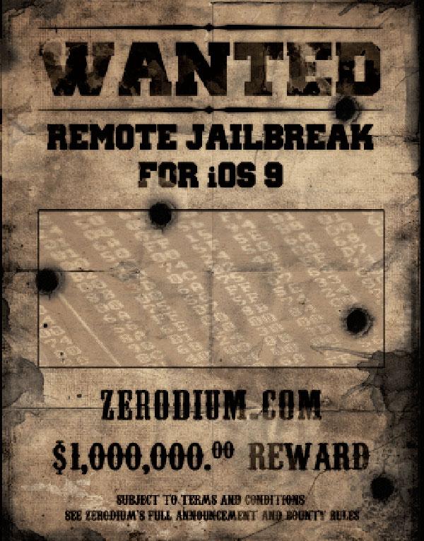 iOS 9 jailbreak bounty