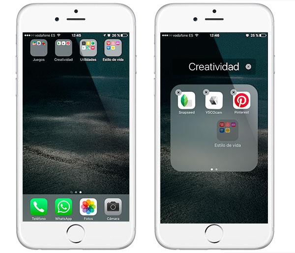 iOS 9(nueve) arrastrar carpetas