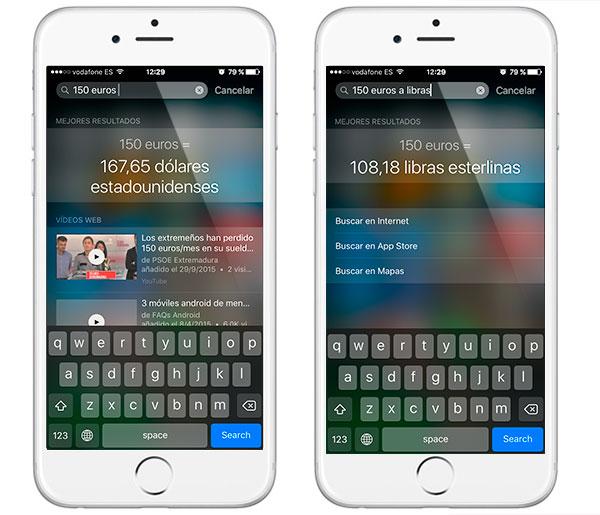 iOS 9(nueve) spotlight