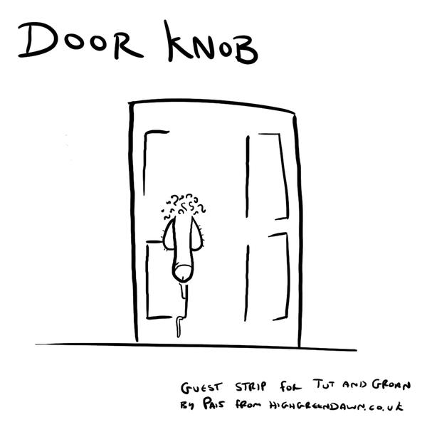 Tut and Groan Guest Toon Door Knob by Pais cartoon